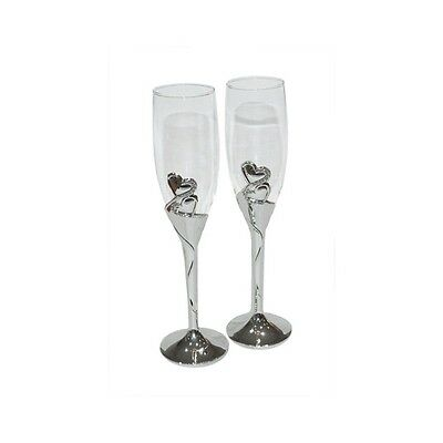 Pair CHAMPAGNE FLUTES GOBLETS Wedding Day Toast GLASSES Silver Hearts Crystals
