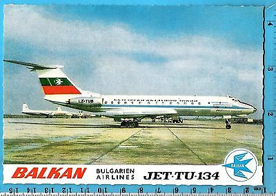 VINTAGE POST CARD DEFUNCT BALKAN BULGARIAN AIRLINES JET-TU-134 1970s