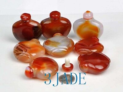 Wholesale 8 Hand Carved Carnelian / Red Agate Snuff Bottles