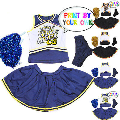 Blank DIY Print Womens Girls Cheerleader Party Costume Fancy Dress Uniform 6-16