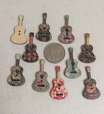 Wooden Guitar Buttons 3cm Asst 2 Hole Embellishments in Packs of 2 5 or 10