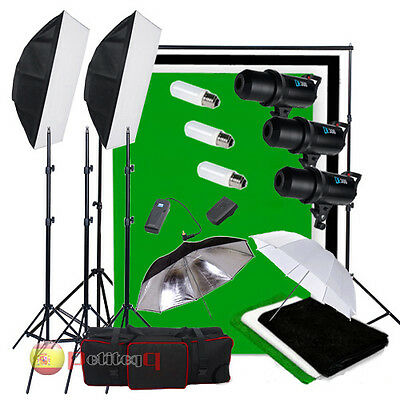 foto estudio 900W Digital Flash LED iluminación Kit 3 fondo telón Soporte ayuda