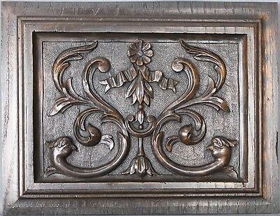 Antique Architectural Carved wood Bird Panel 19th