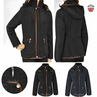 Womens Ladies Quilted Winter Coat Puffer Fitted Jacket Parka Button Padded Size