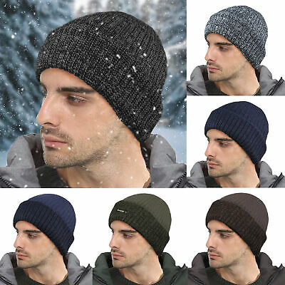Mens Chunky Ribbed Knitted Thinsulate Lined Outdoor Warm Winter Ski Beanie Hat