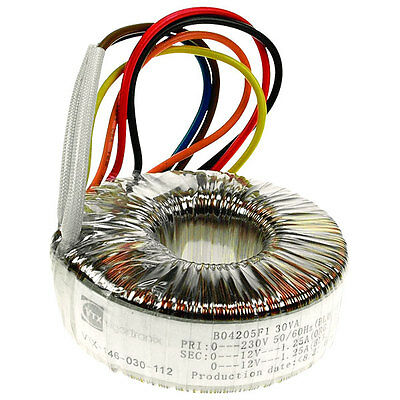 Toroidal Transformer 30VA 2 X 12VAC Output Supplied with Mounting Kit UK Seller