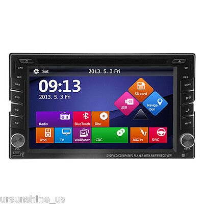 Double 2 Din Car HD DVD Player Stereo Radio GPS Navigation+Bluetooth IPOD TV