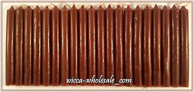 """LOT OF 20 BROWN Chime Spell Candles Mini 4"""" Box of 20 Pagan Wicca Altar Ritual"""