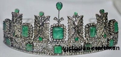 14.67 Ctw Rose Cut Diamond and Emerald Sterling Sliver Victorian Princess Tiara