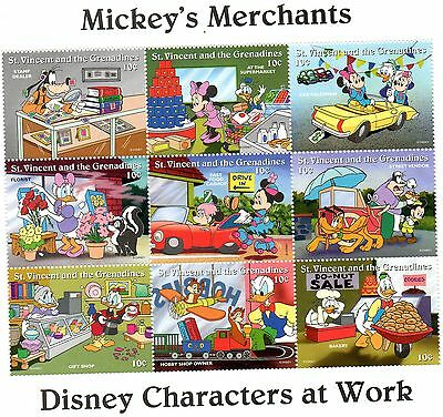 Bloc Timbres Neufs Walt Disney Mickey Merchands : St Vincent Et Grenadines