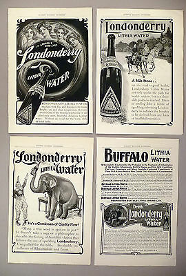 Londonderry Lithia Water PRINT AD - 1903 ~ LOT of 4 diff. ads