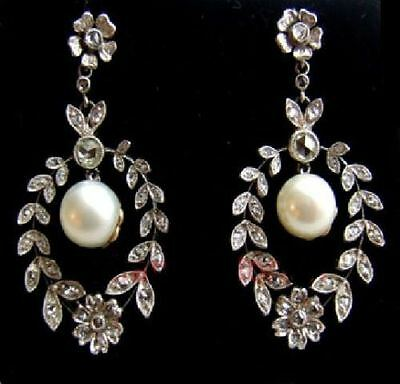Estate Antique 2.04ct Rose Cut Diamond Pearl Sterling silver Engagement Earrings