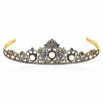 8.03 Ctw Rose Cut Diamond & Pearl 925% Sterling Sliver Victorian Princess Tiara
