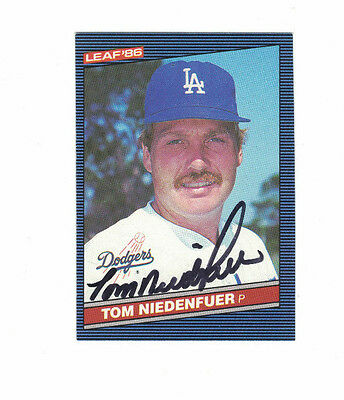 * 1986 Leaf Tom Niedenfuer Los Angeles Dodgers Authentic Autograph COA