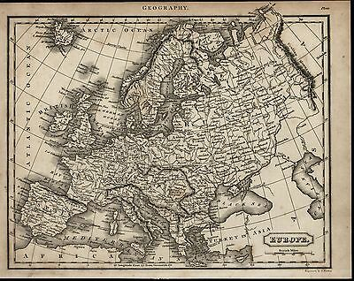 Europe Spain Britain France Italy Sweden scarce 1817 antique engraved map