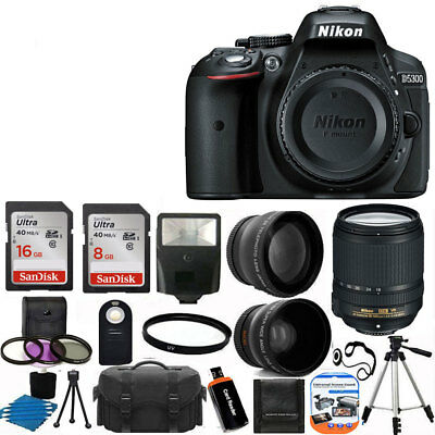 Nikon D5300 Digital SLR Camera + 3 lens 18-140mm VR + 24GB Complete Top Acc  Kit