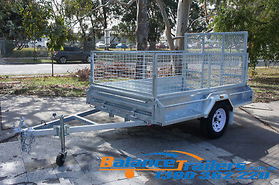 8×5 Hot Dip Galvanised Welded Tipper Box Trailer With 900mm Cage & 1,290mm RAMP