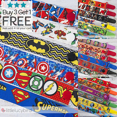 Superheroes - Superhero Dummy Clip - Pacifier Clips - Soother Chain - Baby Gift