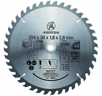 "BGS Germany TCT Circular Saw Blade 254mm Diameter 30mm Arbor 1"" Adaptor Ring"