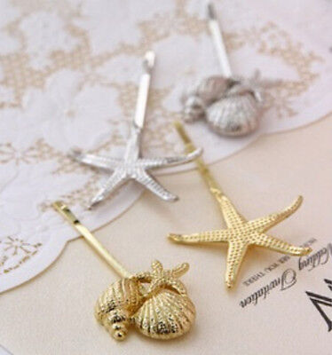 New Retro Girl Metal Conch Sea star Hairclip Hairpin Hair Stick Jewelry