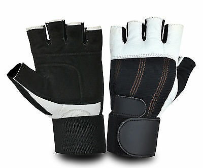 Bus Driving Gloves Leather Padded Palm Wheelchair Weight Lifting Fingerless Gym