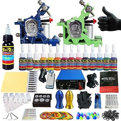 Solong Tattoo Kits Tattoo Machine Guns Set Ink Power Supply Grip Tips TK203-14