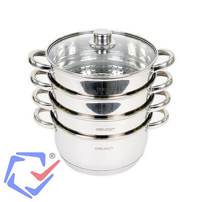 3-Tier 4-tier INOX Stainless Steel Steamer Cooking Pot Dishwasher Safe 24cm