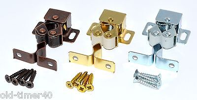 Double Roller Catch + Screws Cupboard Cabinet Door Latch CHOOSE FINISH & QTY