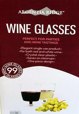 99 Clear Plastic Wine Glasses Red White Champagne Disposable 210 Ml New