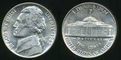United States, 1942-P 5 Cents, Jefferson Nickel (Silver) - almost Uncirculated