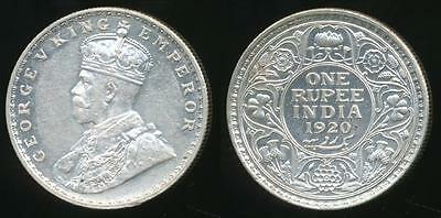 India, British India, 1920-C Rupee, George V (Silver) - Uncirculated