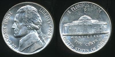 United States, 1943-P 5 Cents, Jefferson Nickel (Silver) - Uncirculated
