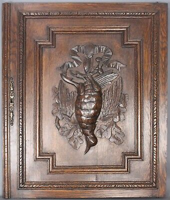 Antique French Architectural Carved wood Panel Hunting scene • CAD $282.20