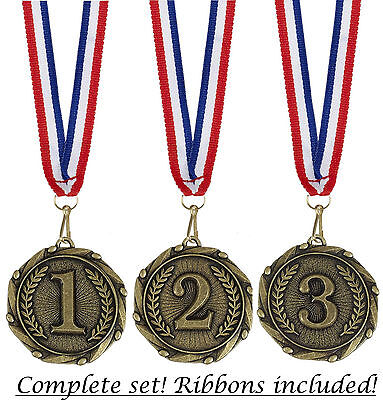 """1st 2nd & 3rd Medals and Ribbons - Engraved with your message - Free P+P"""