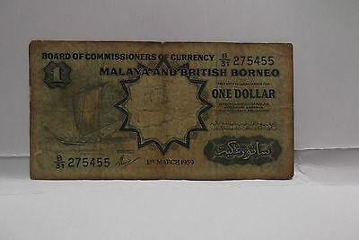 1959 Malaysia  $1 Dollar Note Serial Number B/31 275455
