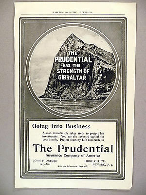 Prudential Insurance PRINT AD - 1904 ~~ Rock of Gibraltar