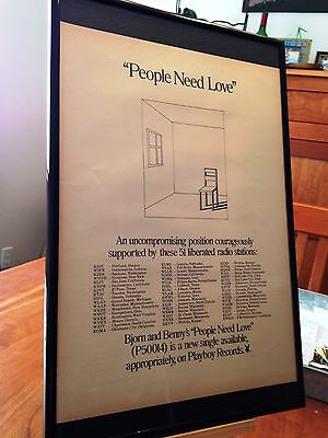 "Big 11X17 Framed Bjorn & Benny (Abba) ""people Need Love"" Lp Album Cd 45 Promo Ad"