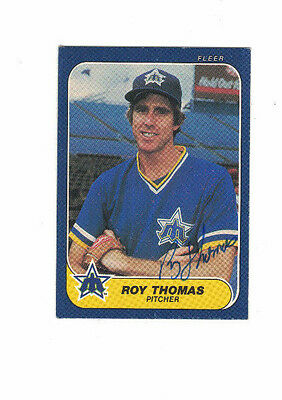* 1986 Fleer Roy Thomas Seattle Mariners Authentic Autograph COA