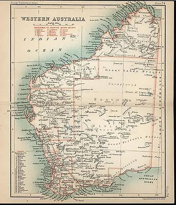 Western Australia 1898 charming old antique color lithograph map