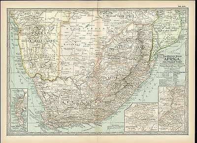 Southern Africa 1898 antique color lithograph map