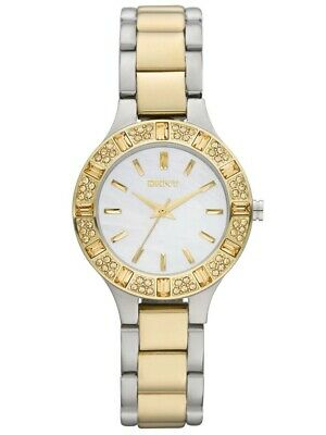 NEW DKNY NY8742 Women's Two-Tone Mother Of Pearl Dial Watch
