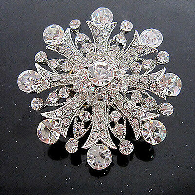 Stunning Vintage Inspired Antique Silver Plated Large Statement Clear Brooch