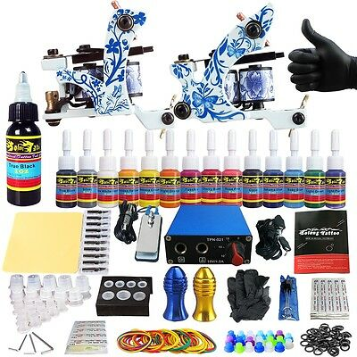 SolongTattoo Kits Tattoo Machine Guns Set 14 Ink Power Supply Grip Tips TK203-41