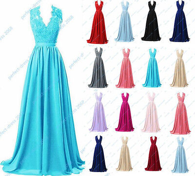 New Long Chiffon Prom Dress Bridesmaid Formal Gown Ball Party Cocktail Size 6-22