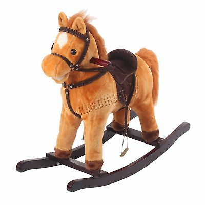 Kid Children 68cm Small Light Brown Rocking Horse Sound Great Traditional Toy