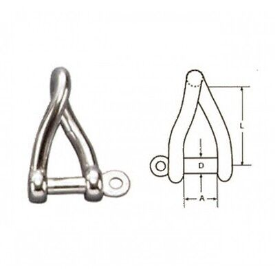 6mm STAINLESS STEEL 316 (A4) Twisted shackle