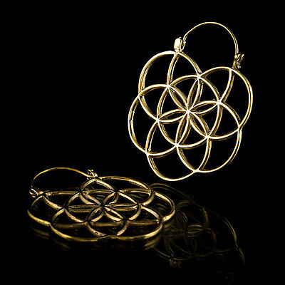 Flower of Life Hoop Earrings,Mandala Brass Earrings,Tribal (Code 319)