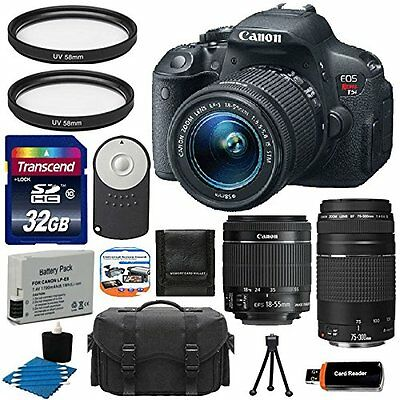 Canon EOS Rebel T5i 700D Body + 18-55 STM +75-300mm Lens Kit  +32GB Card Top Kit