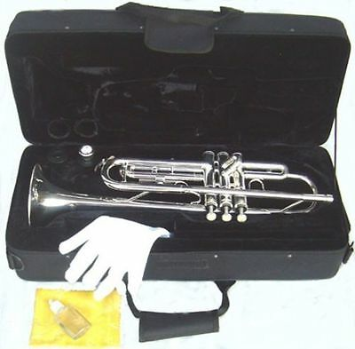 NEW STUDENT SILVER BAND Bb TRUMPET w/case.Approved+Warranty