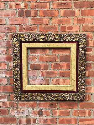Superb 19Th Century Two Tone Gilt American Picture Frame. Ornate Rose Pattern